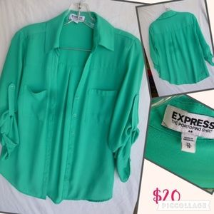 Teal EXPRESS Button up Blouse (S)